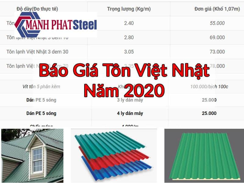 Báo giá tôn Việt Nhật năm 2020