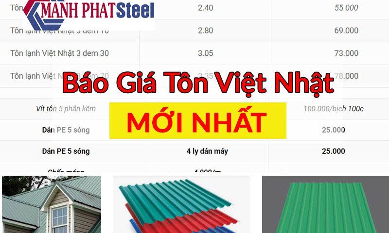 Báo giá tôn Việt Nhật mới nhất hiện nay