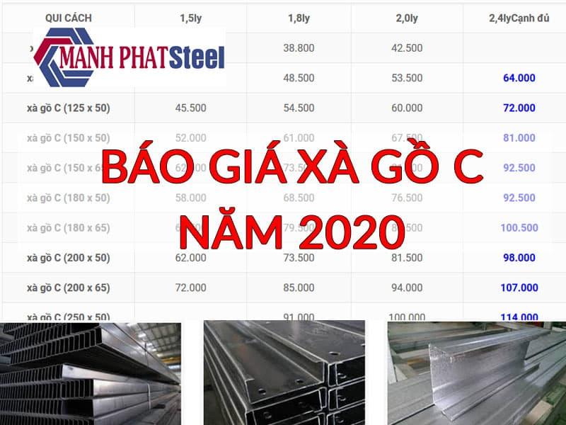 báo giá xà gồ c 2020