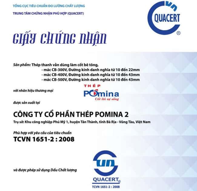 chứng nhận xuất xưởng thép pomina